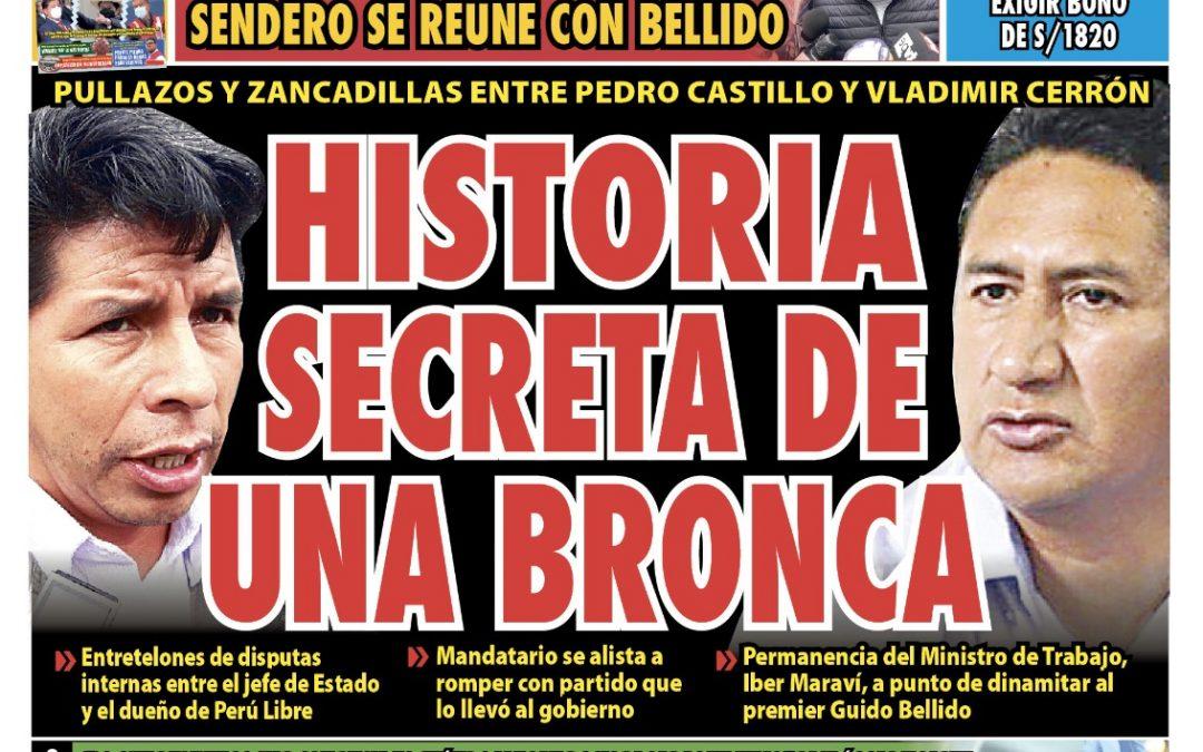 Portada impresa – Diario La Razón (08/09/2021)