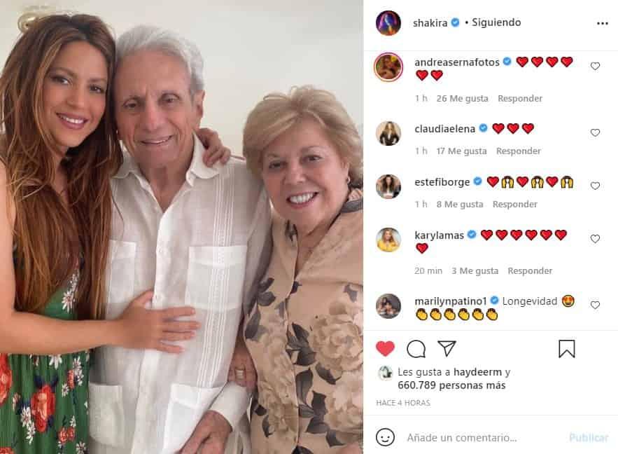 Shakira dedica grato y emotivo mensaje a su padre