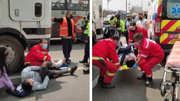 Surco: Motociclista fue embestido por miniván y fue auxiliado
