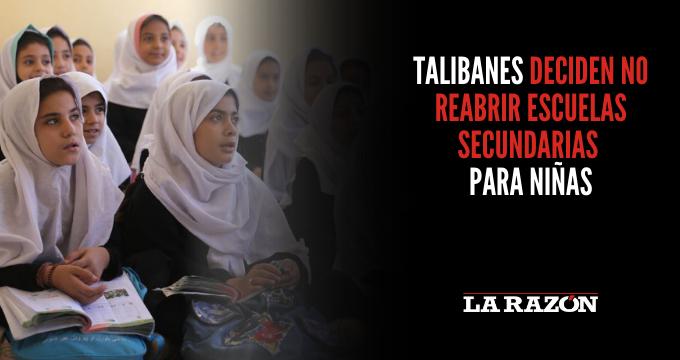 Talibanes deciden no reabrir escuelas secundarias para niñas
