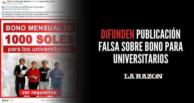 Difunden publicación falsa sobre bono para universitarios
