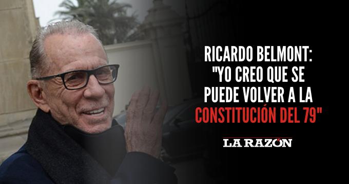 Ricardo Belmont: «Yo creo que se puede volver a la Constitución del 79»
