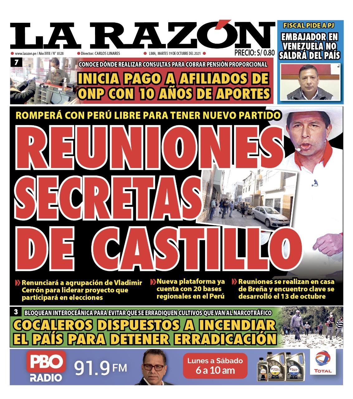Portada impresa – Diario La Razón (19/10/2021)
