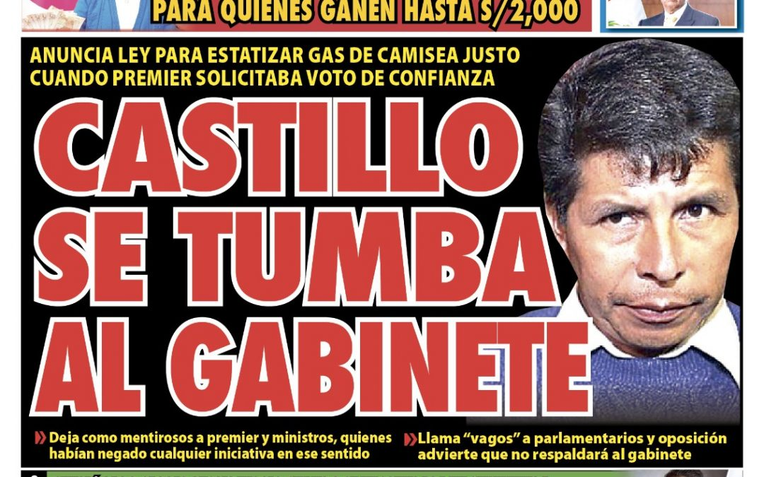 Portada impresa – Diario La Razón (26/10/2021)