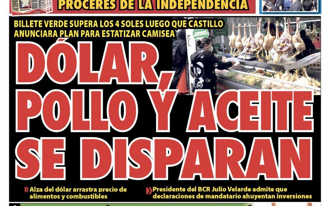 Portada impresa – Diario La Razón (27/10/2021)